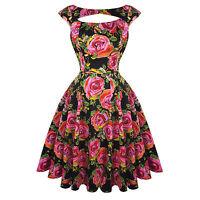 Hearts & Roses London Pink Floral Vintage 50s Prom Swing Flared Dress UK