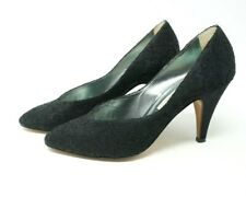Vintage Italian Casadei Neiman Marcus Black Heels Size 7.5 Leather Shoes Lace