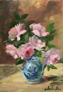 A4 print of Original oil painting art floral cottage pink roses shabby chic