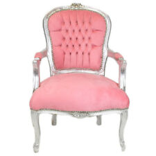 CHAIRS FRANCE BAROQUE STYLE LADY CHAIR WITH ARMRESTS SILVER / PINK #55F3