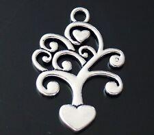 5 Family Tree Of Life Hearts Tibetan Silver Charm Pendant 40mm AB14