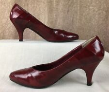 Woman's Genuine Eel Skin Hand Made Cherry Red High Heel Shoes Unbranded Size 7
