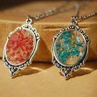 Natural Real Dried Flower Glass Pendant Necklace Women Jewelry