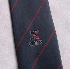 Logotipo de la empresa Alfer Corbata Vintage Retro Gris Rayas Rojas 1980s 1990s corporativo