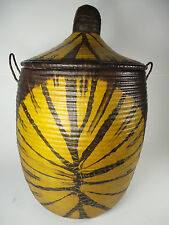 """24"""" Made in Senegal Woven Basket Goat Leather Brown Yellow Tie Dye West Africa"""