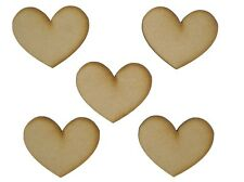 MDF Heart Wooden Shapes 3.5cm 35mm High 3mm Thick Custom Cut X 20 Pieces 036