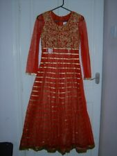 Señoras mayores Chicas Indio Asiático Pakistaní Boda Fiesta Traje Rojo XS UK 8-10 Nuevo