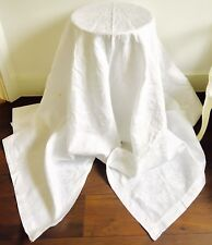 Vintage Lino Blanco Damasco Mantel enorme