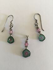 Brand New Watermelon Tourmaline Pendant and Earrings set in Silver