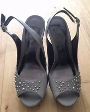 NEW Coast Silver/Grey Satin Heels with Silver spot detailing Size 3 platforms