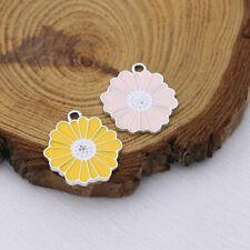10Pcs Enamel Yellow Flower Charm Pendant Jewelry Making Earrings DIY Accessories