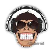 2 x Scimmia headhones ADESIVI Vinile Auto finestra Laptop SKATE SURF BOARD 10cm
