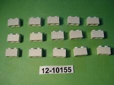 LEGO - 15 Steine Leisten geriffelt Riffelsteine 2x1 / 1x2 weiß 2877 (10155) NEU