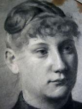 ANTIQUE DRAWING PAINTING FEMALE WOMAN LADY PORTRAIT AUGUST KRAUS GERMAN 1888