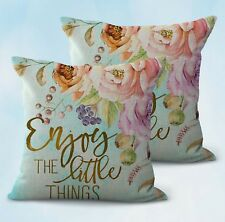 US Seller-set of 2 enjoy the little things flower cushion cover home decor cheap