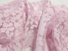 "Pink Organza Shimmer Burnout Floral 56"" Wide 100% Poly Fabric by the Yard"