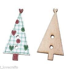 50 Bottoni Legno 2 Fori da Cucire Albero di Natale Cuore Stampo 3x1.5cm