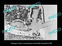 OLD LARGE HISTORIC PHOTO BOULOGNE FRANCE AERIAL OF THE PORT IN WWII c1940
