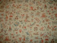 """Vintage 5 yds Waverly REGENT Asian Inspired Toile Drapery & Curtain Fabric  54""""W"""