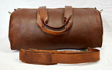 Real leather vintage travel luggage duffel gym bag urban safari cabin briefcase