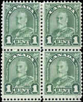 Mint H/NH Canada F+ Block of 4 Scott #163ii RE-ENTRY 2c KGV Arch/Leaf Stamps