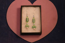 Beautiful Silver Earrings With Jade And Pearls.4.5 Cm.+ 925 Silver Hooks