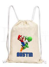 Personalised Boys Mario & Yoshi Drawstring Canvas Gym/ PE Bag