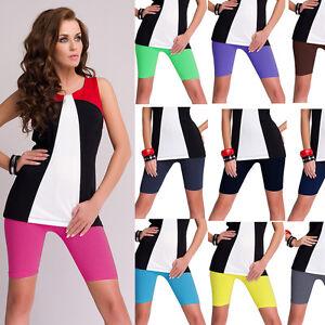 Damen kurze Leggings Legings  Shorts Radlerhose blickdicht verschiedene Farben