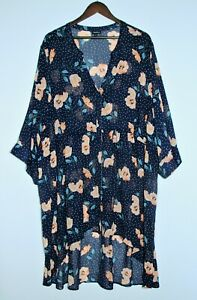 TORRID Plus Size 6 / 28-30 Sheer Blue Floral High Low Tunic Roll Tab Sleeves