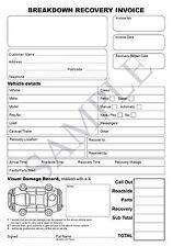 BREAKDOWN REPAIR RECOVERY INVOICE PAD, CAR or VAN - 2 Part sets