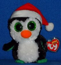 "TY BEANIE BOOS - IGLOO the 6"" HOLIDAY PENGUIN - MINT TAG - PINHOLE in TUSH TAG"