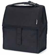 Freezable Travel & ToGo Food Containers Lunch Bag With Zip Closure, Black