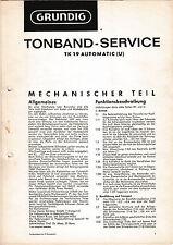Service Manual-Anleitung für Grundig TK 19 Automatic