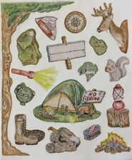 """Camping Stickers(17pc)4.5""""x 5.5"""" Campfire•Tent•Compass •Fishing •Animals•Nature••"""