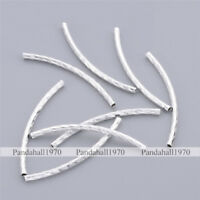 200 Pcs Silver Stripe Curved Brass Tube Beads Crafts For Jewelry Making 2x35mm