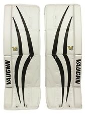 "New Vaughn 1100 Sr ice hockey goal leg pads 32""+2 Black/White Velocity V6 goalie"