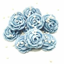 Baby Blue Roses & Pearls Sugar Edible Flower Wedding Christening Cake Decoration
