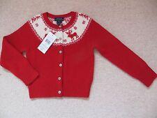 BNWT Chicas Ralph Lauren de punto de manga larga chaqueta de punto edad 4 años Reno Rojo