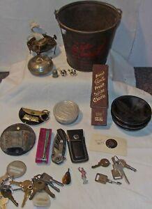 JUNK DRAWER BOX LOT - OLD BUCKET, KNIVES, KEYS, FOLDING CUP, RAIN BONNET +++