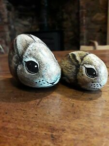 Hand Painted Pebbles Stones. Decorative.  Rabbit and Baby.  Very Sweet!