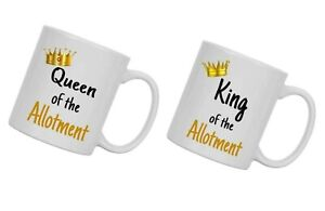 King & Queen of the allotment PAIR OF MUG GIFT FOR MUM, DAD, allotment holder