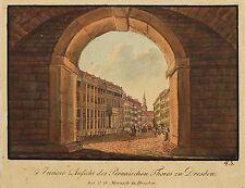 DRESDEN - PIRNAISCHES TOR - Morasch - kolor. Umrissradierung 1835