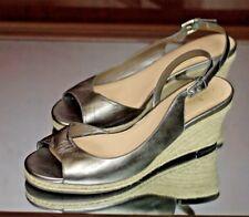 COLE HAAN Women's Platinum & Rope Wedge Open Toe Heels Size 8B 8 B