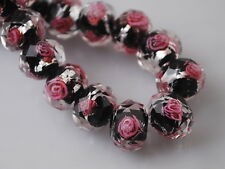 8mm Rondelle Faceted Glass Crystal Rose Flower Inside Lampwork Beads Spacer