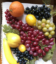 Vintage Lot Artificial Faux Fruit Realistic Grapes, Pear, Orange, Banana,Lemon