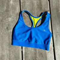 Womens Champion Absolute Workout Sports Sport Bra Blue Yellow Racerback Small