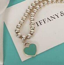 TIFFANY CO Return to Tiffany Bead Ball Bracelet Blue Enamel Mini Heart Tag POUCH
