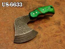 """3.4""""CUSTOM DAMASCUS STEEL MINI HATCHET AXE NECK KNIFE,STAINED CAMEL BONE US-6633"""