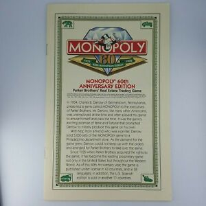 Monopoly 60th Anniversary Instructions Rules Booklet Replacement Game Part