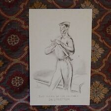 Vintage Postcard Just Suck'n Up For Another Inspection, Military Man Polishing